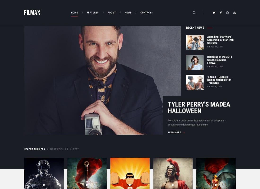 Filmax | Movie Magazine WordPress Theme Website Template