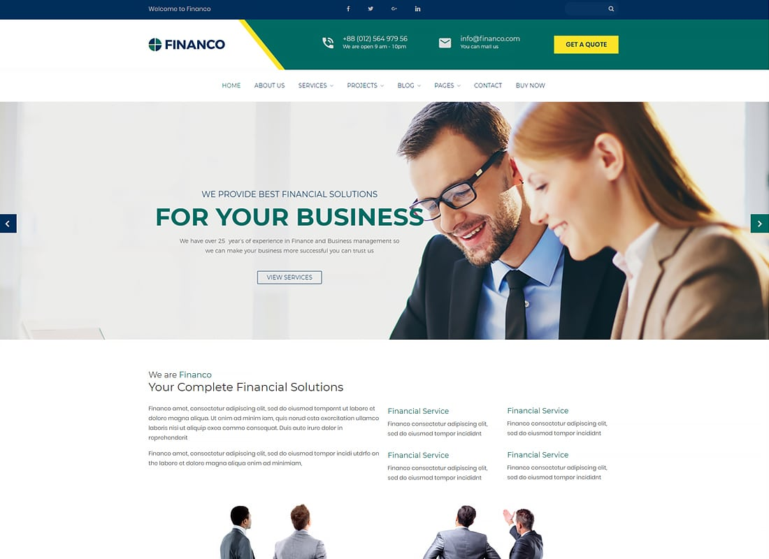 Financo - Finance & Investment WordPress Theme Website Template