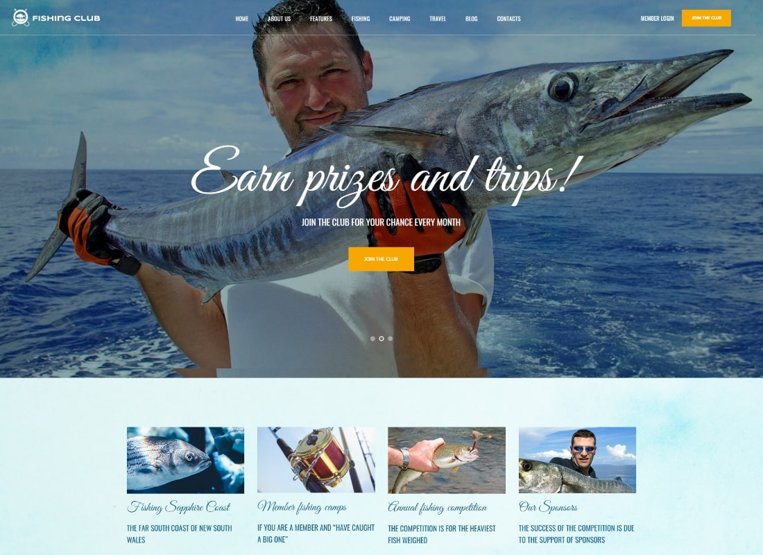 Fishing Club | Fishing and Hunting Club WordPress Theme Website Template