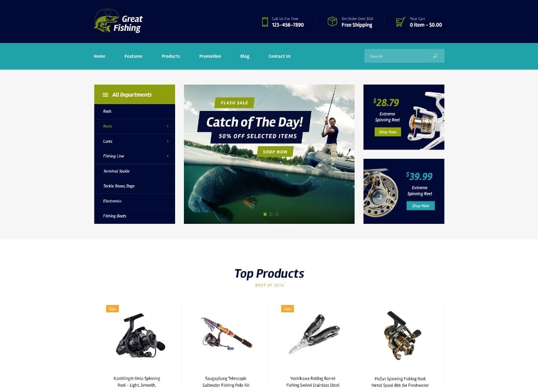 Fishing and Hunting Hobby WordPress Theme Website Template