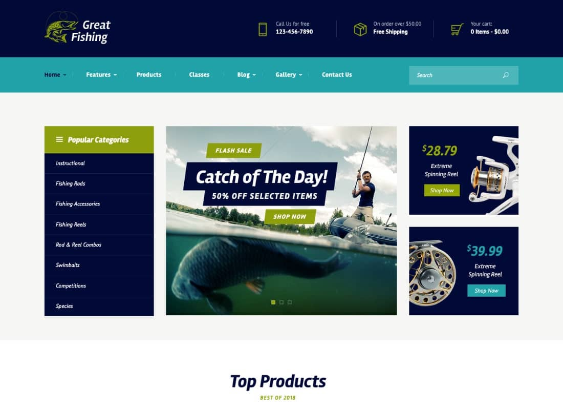 Fishing and Hunting Hobby WordPress Theme Website Template
