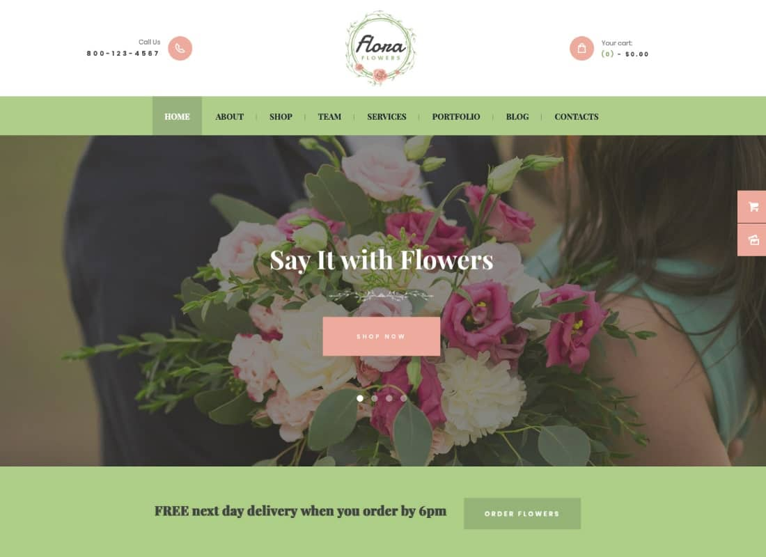 Flowers Boutique and Florist WordPress Theme Website Template