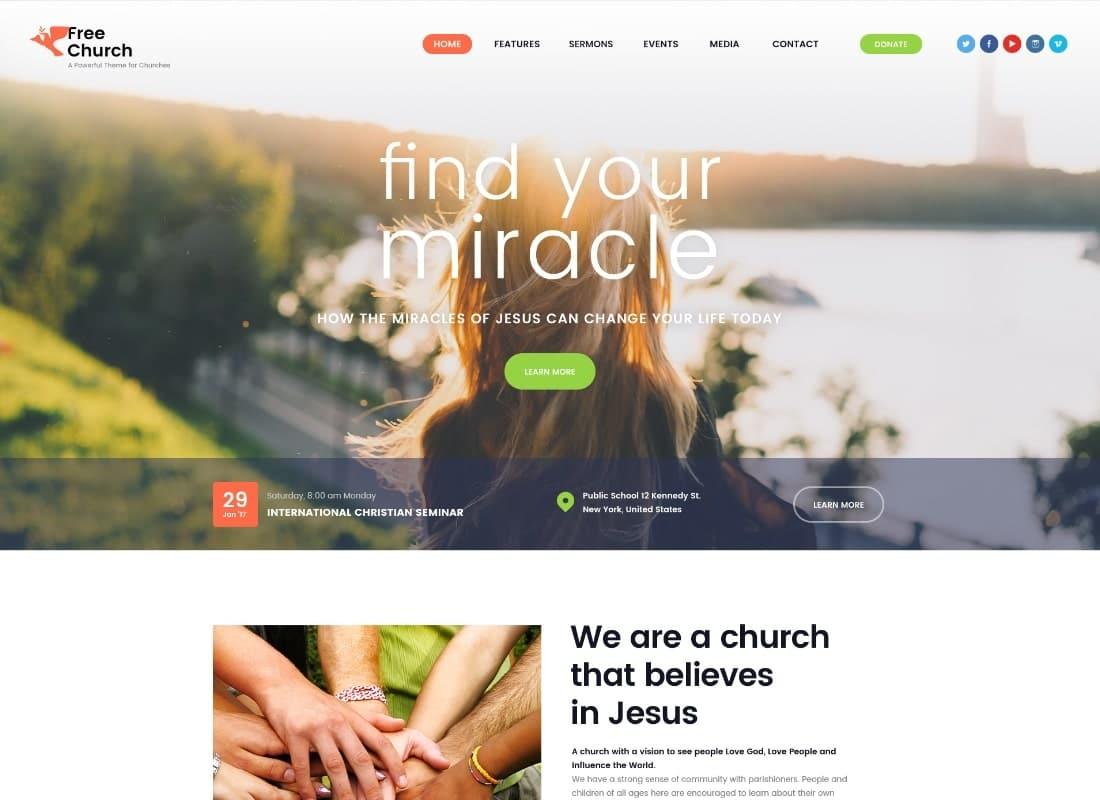 Free Church | Religion & Charity Christian WordPress Theme Website Template