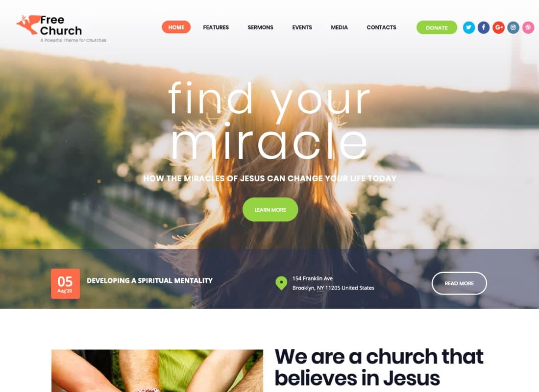 Free Church | Religion & Charity Christian WordPress Theme Website Template