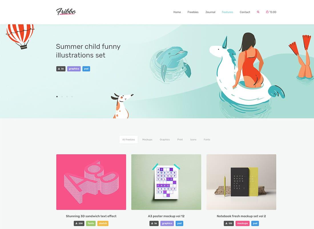 Fribbo - Freebies Blog WordPress Theme Website Template