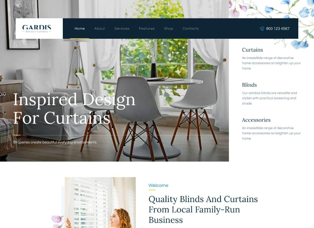 Gardis | Blinds and Curtains Studio & Shop WordPress Theme Website Template