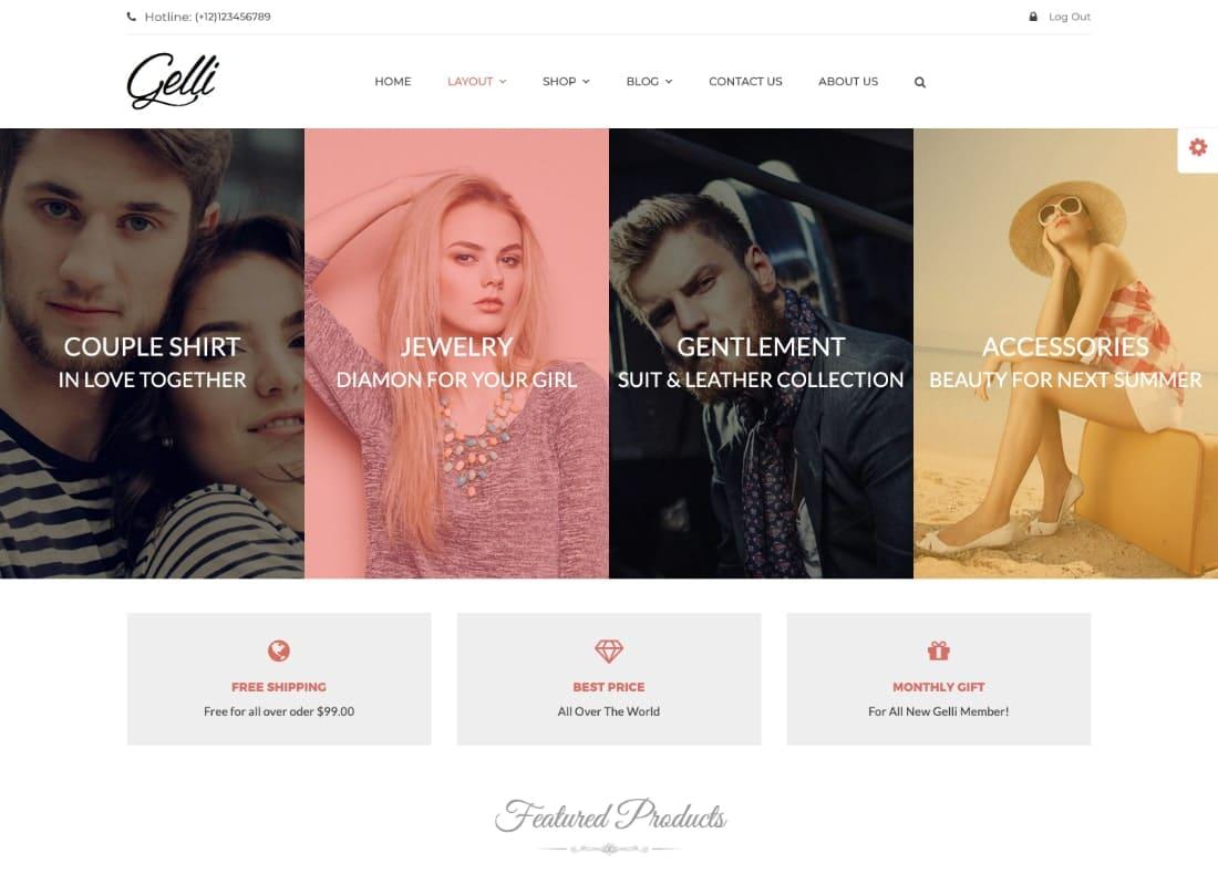 Gelli | WooCommerce Theme for Jewelry / Perfume / Accessories / Handmade Store Website Template