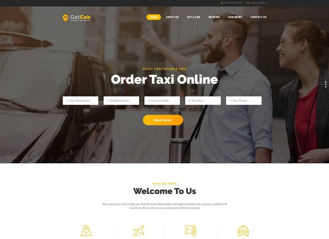 GetCab | Online Taxi Service WordPress Theme Website Template