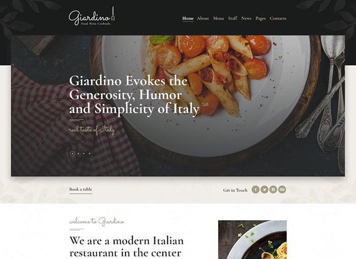 Giardino   An Italian Restaurant & Cafe WordPress Theme Website Template