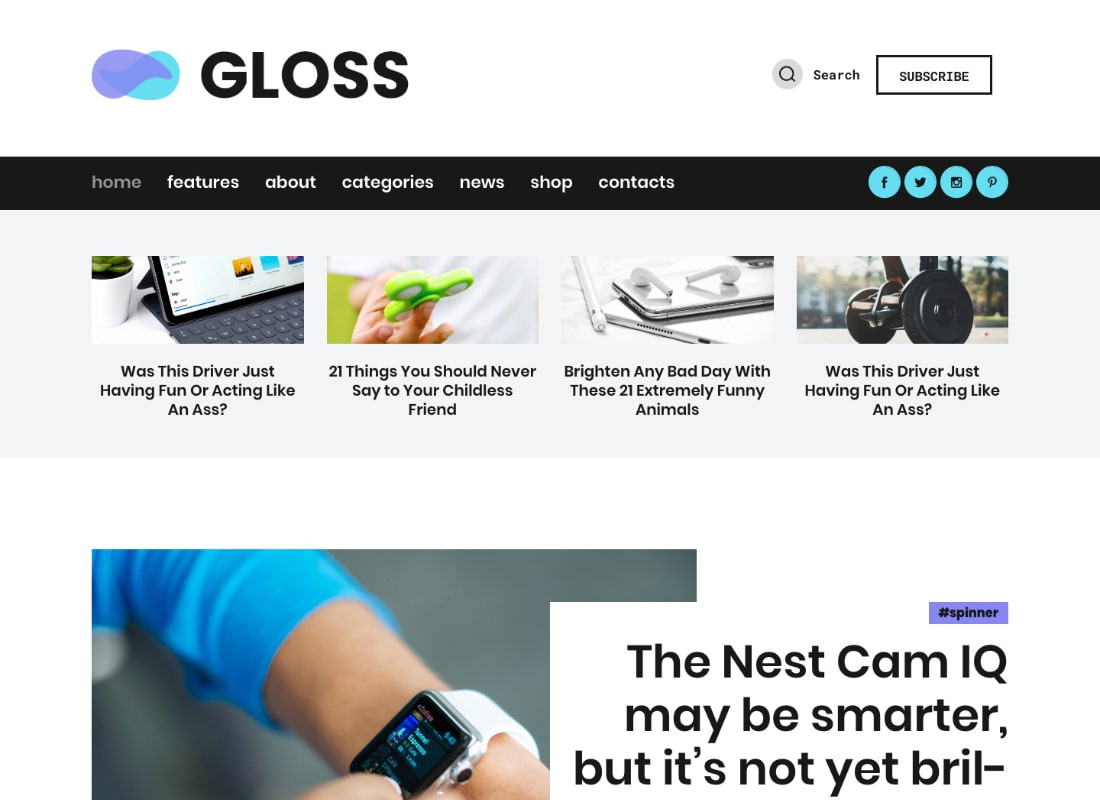 Gloss | Viral News Magazine WordPress Blog Theme + Shop Website Template