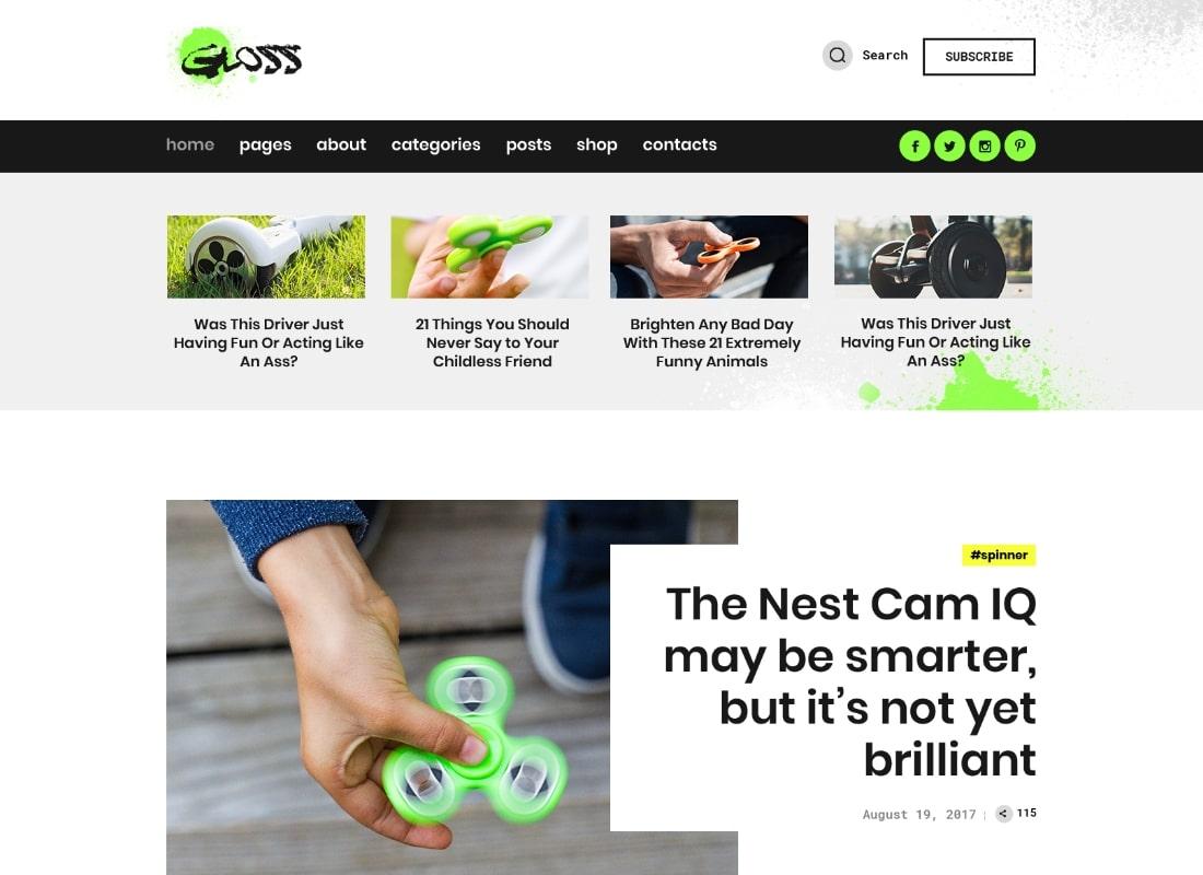 Gloss   Viral News Magazine WordPress Blog Theme + Shop Website Template