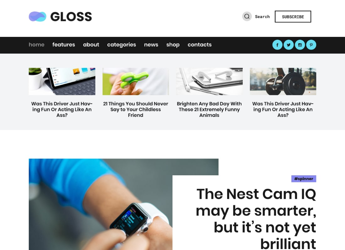 Gloss | Viral News Magazine WordPress Blog Theme Website Template
