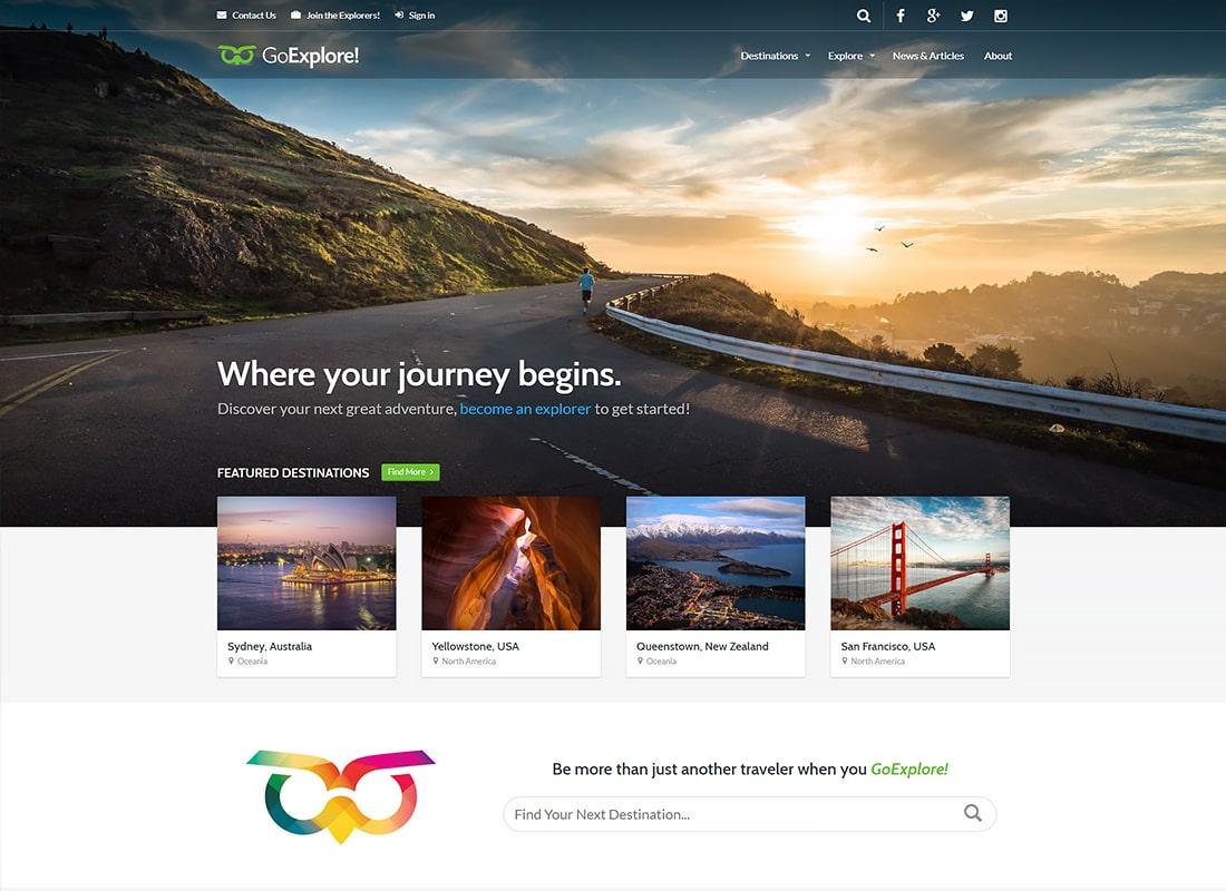 Travel WordPress Theme - GoExplore! Website Template