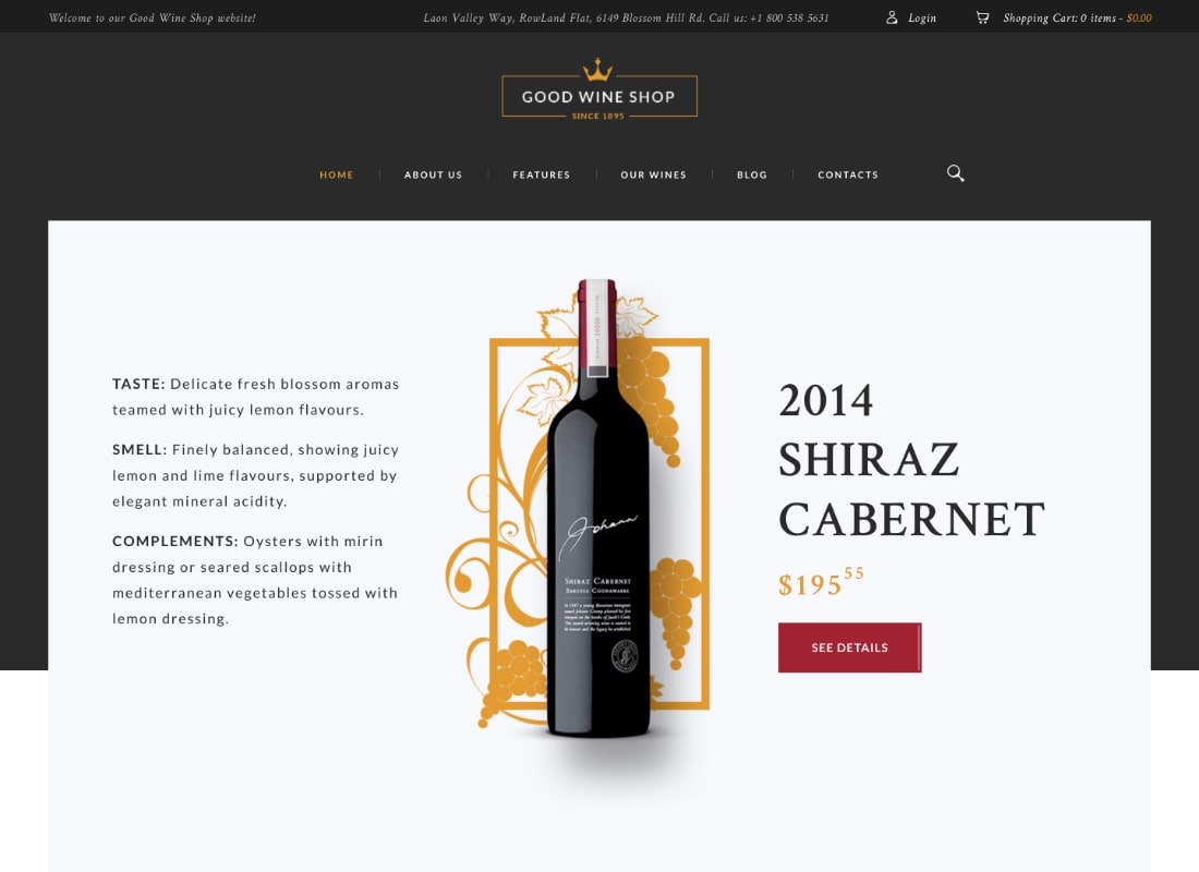 Good Wine | Vineyard & Winery Shop WordPress Theme Website Template