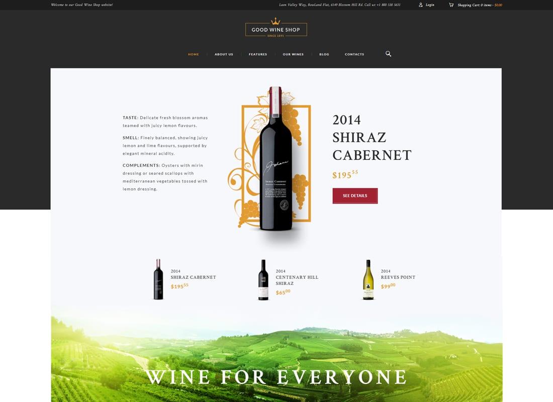 Good Wine - Wine House, Winery & Wine Shop WordPress Theme   Website Template