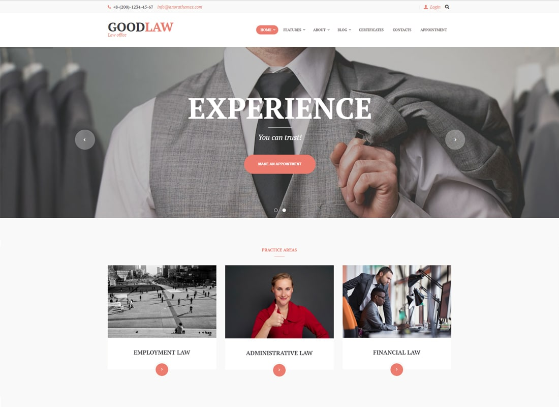 GoodLaw | A Lawyers & Legal Advisor WordPress Theme Website Template