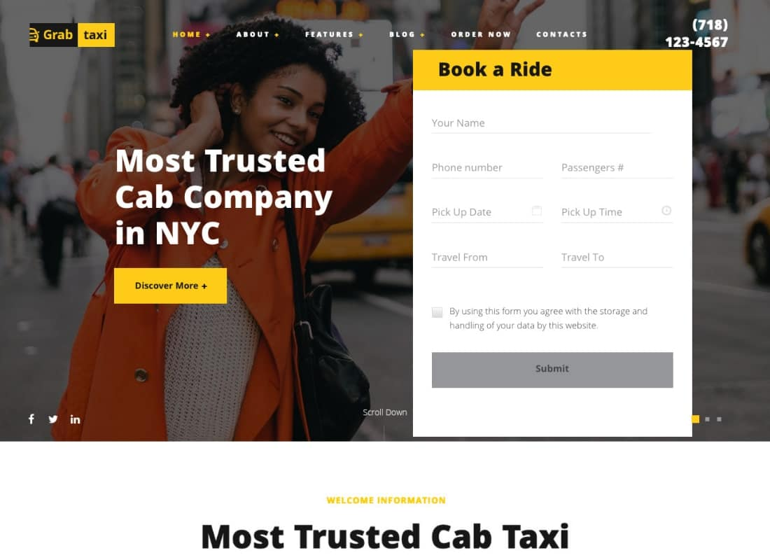 Grab Taxi | Online Cab Service WordPress Theme Website Template