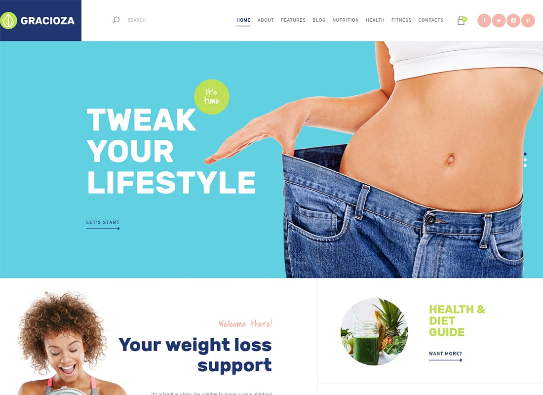 Gracioza - Weight Loss Company & Healthy Blog WordPress Theme   Website Template