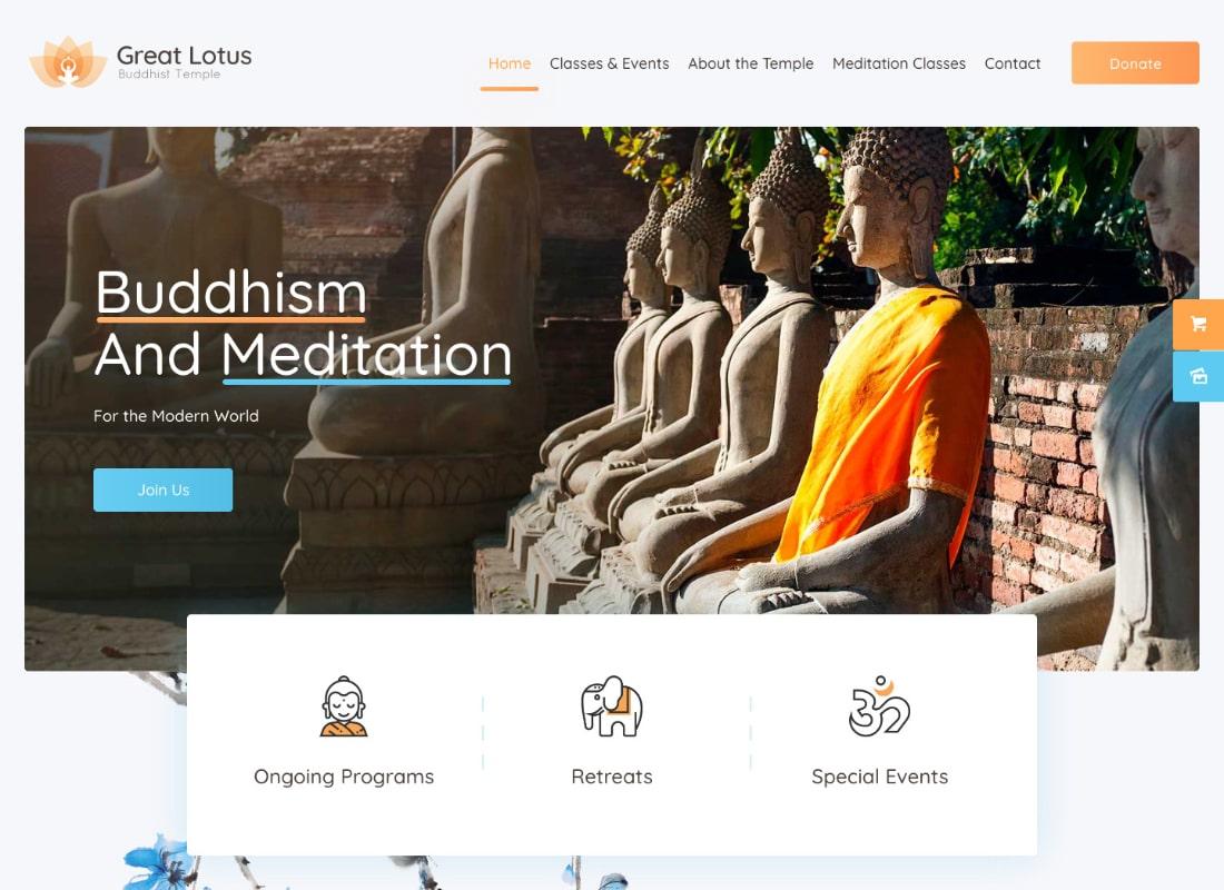 Great Lotus | Oriental Buddhist Temple WordPress Theme + RTL Website Template