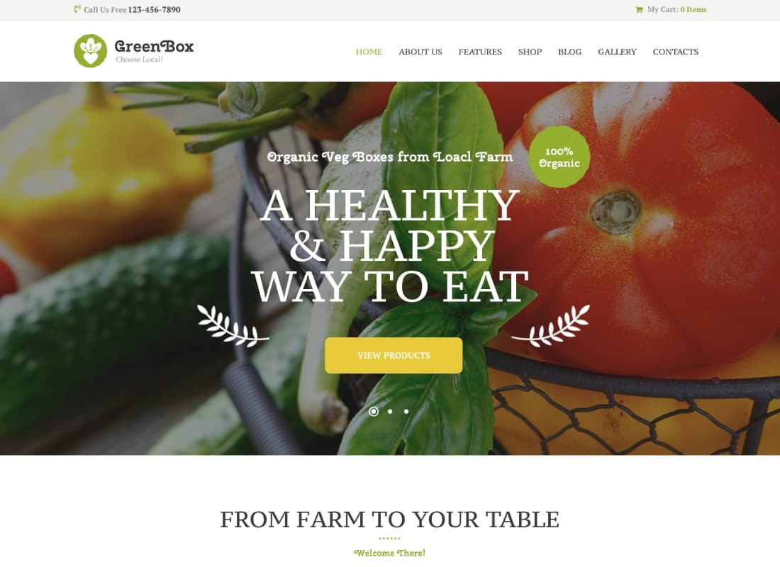 Green Box | Eco Farm & Organic Products Store WordPress Theme Website Template