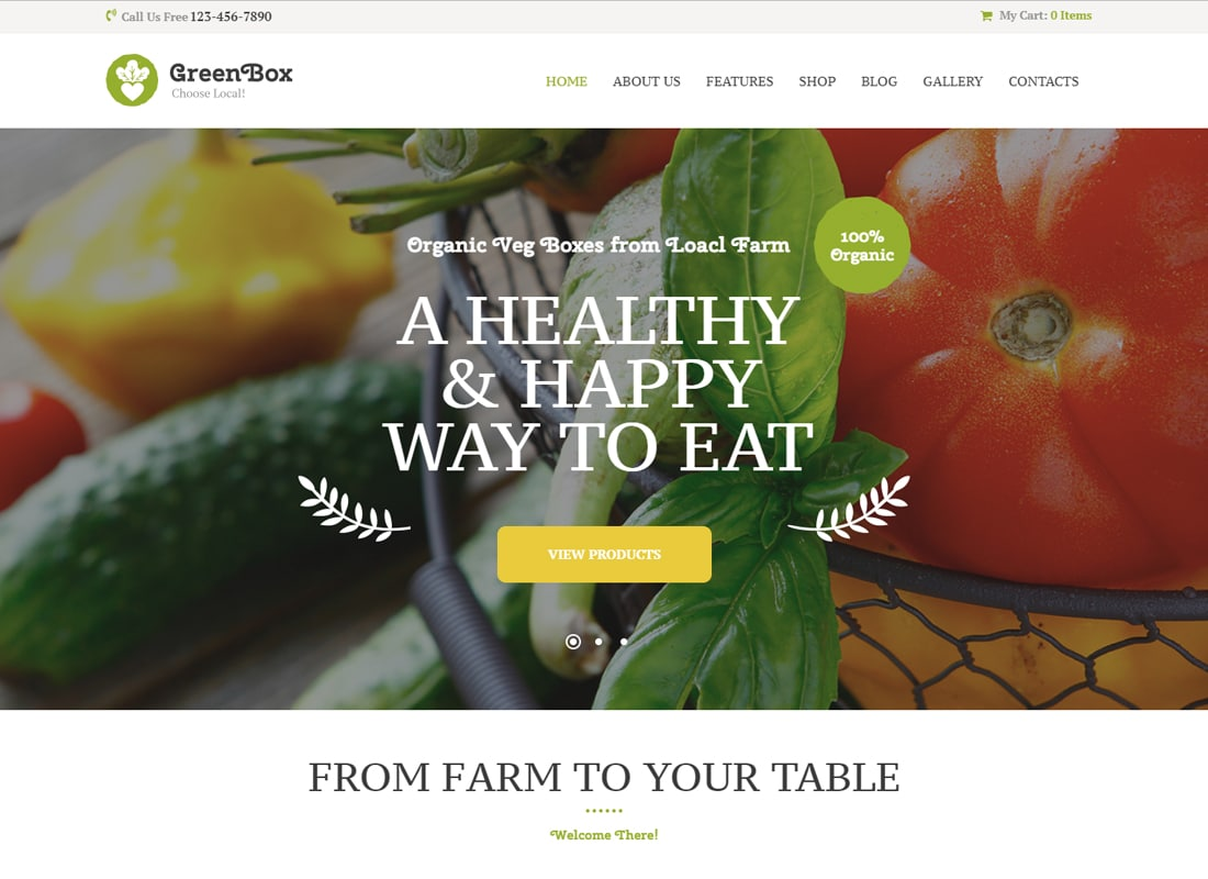 Green Box - Eco Farm & Organic Products Store WordPress Theme   Website Template