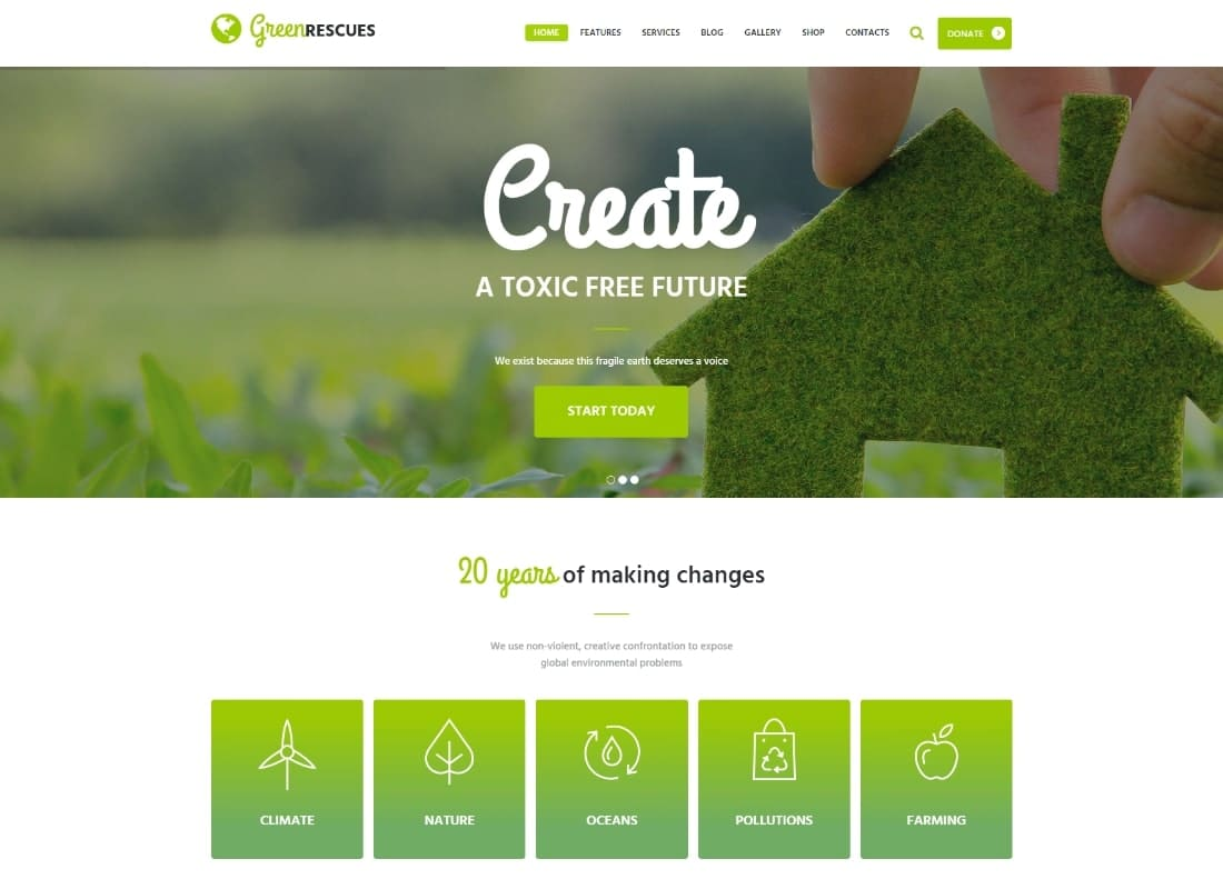 Green Rescues - Environment Protection Antipollution Eco WordPress Theme Website Template