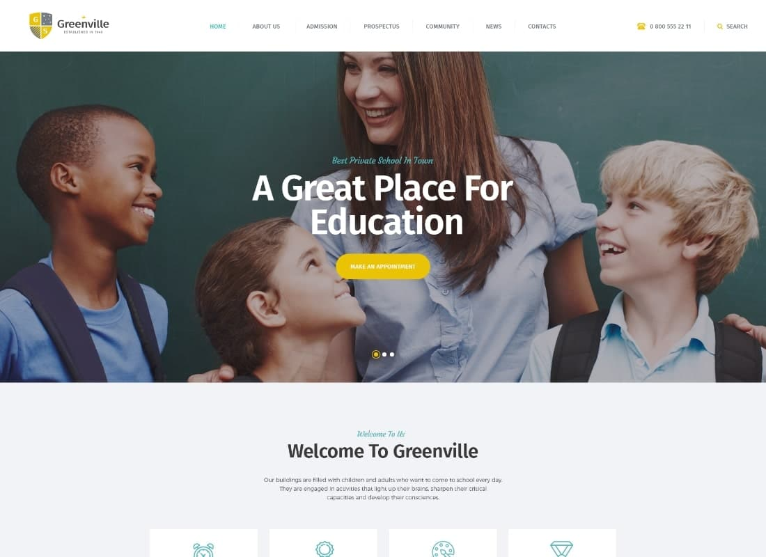 Greenville | A Private School & University Education WordPress Theme Website Template