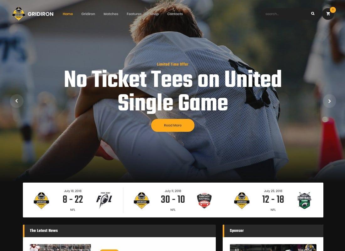 Gridiron | American Football & NFL Team WordPress Theme Website Template