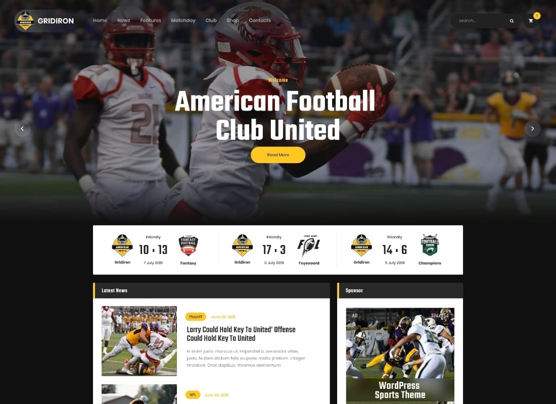Gridiron | American Football & NFL Team WordPress Theme Website Template