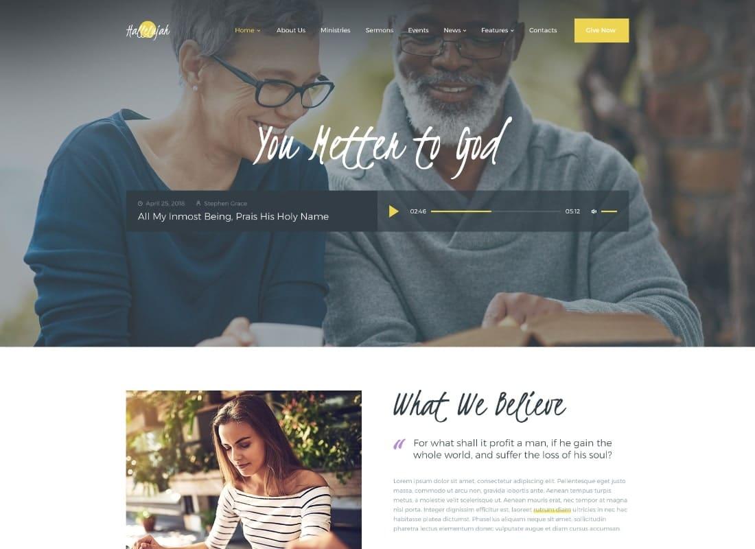 Hallelujah   Church & Religion WordPress Theme Website Template