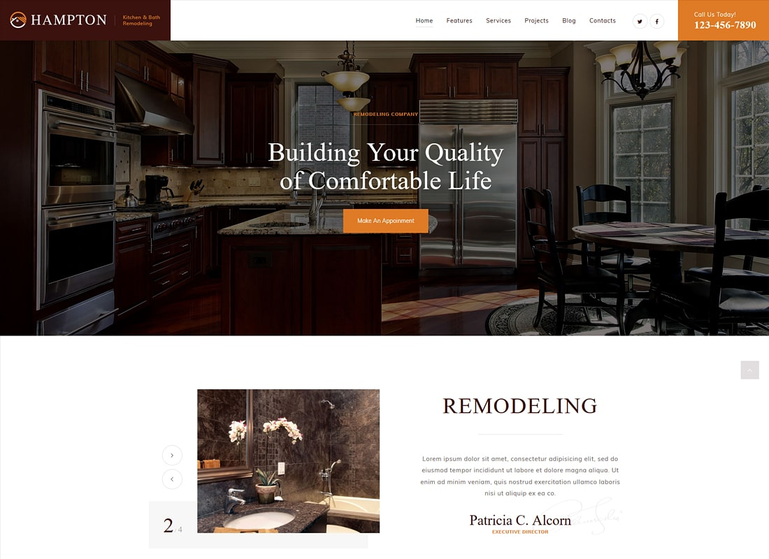 Hampton | Home Design and House Renovation WordPress Theme Website Template