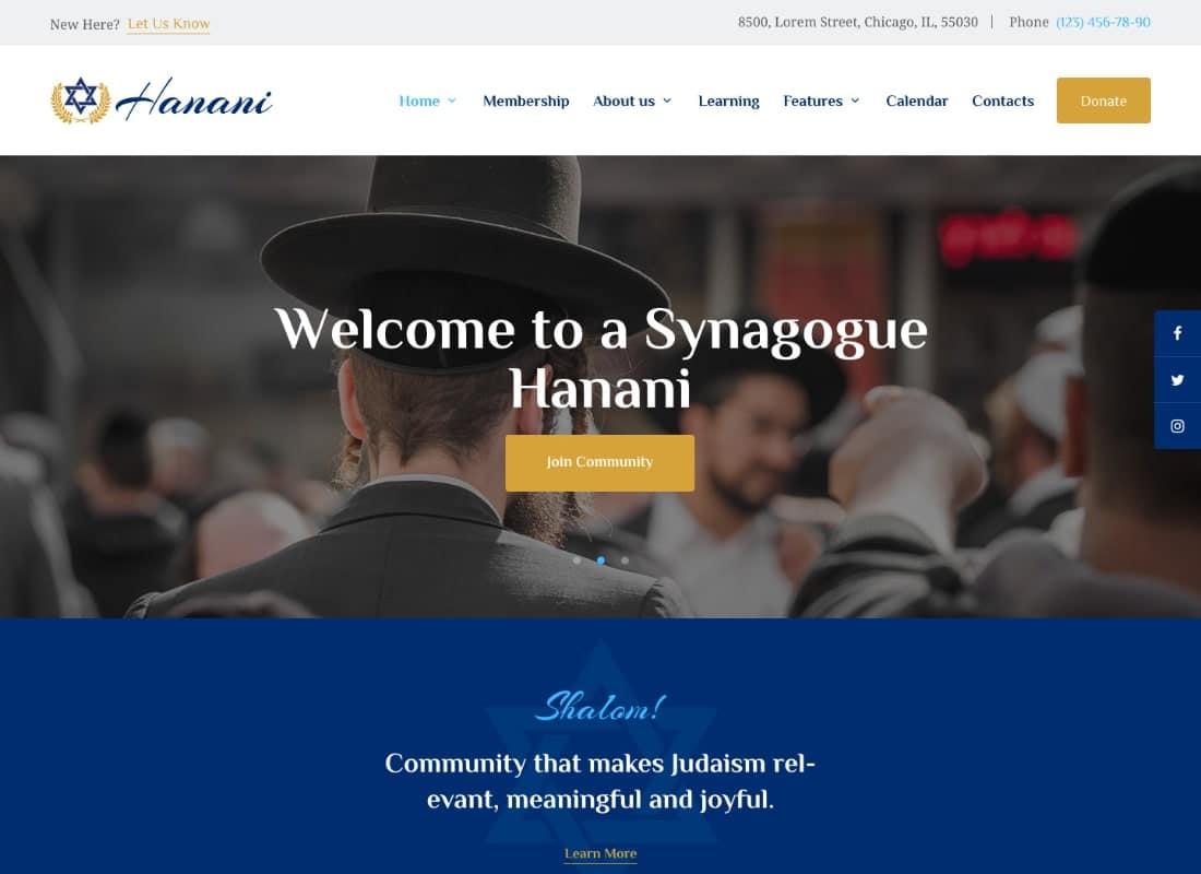 Hanani | Jewish Community & Synagogue WordPress Theme Website Template