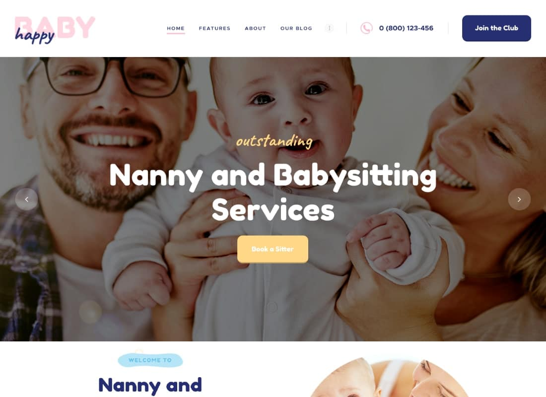 Happy Baby | Nanny & Babysitting Services WordPress Theme Website Template