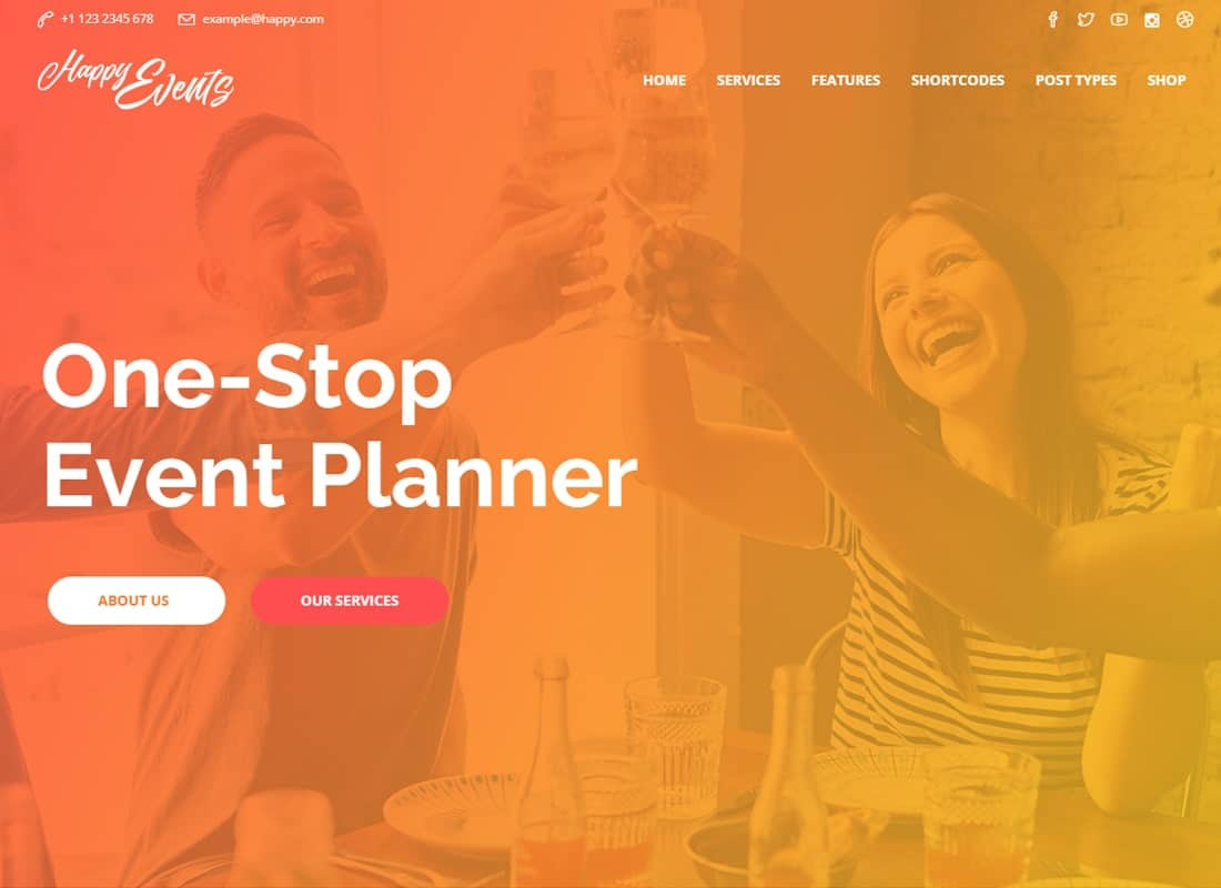 Happy Events - Events Planner WordPress Theme Website Template