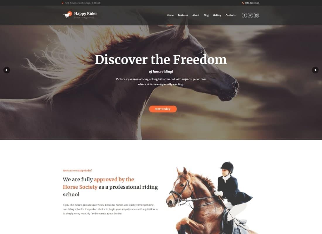 Happy Rider - Horse School & Equestrian Center WordPress Theme Website Template