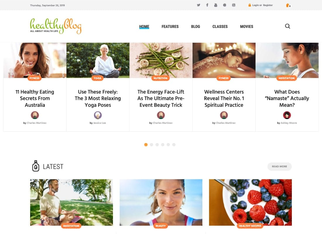 Healthy Living Blog with Online Store WordPress Theme Website Template
