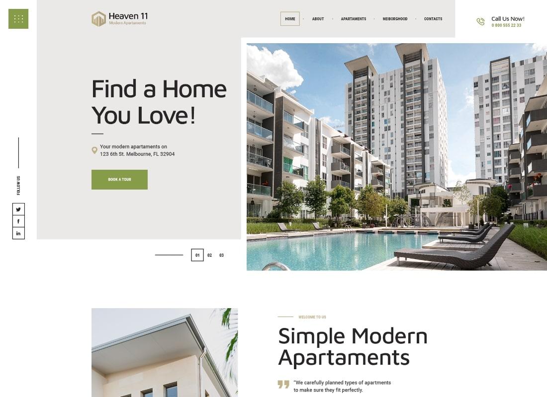 Heaven11 | Property & Apartment Real Estate WordPress Theme Website Template