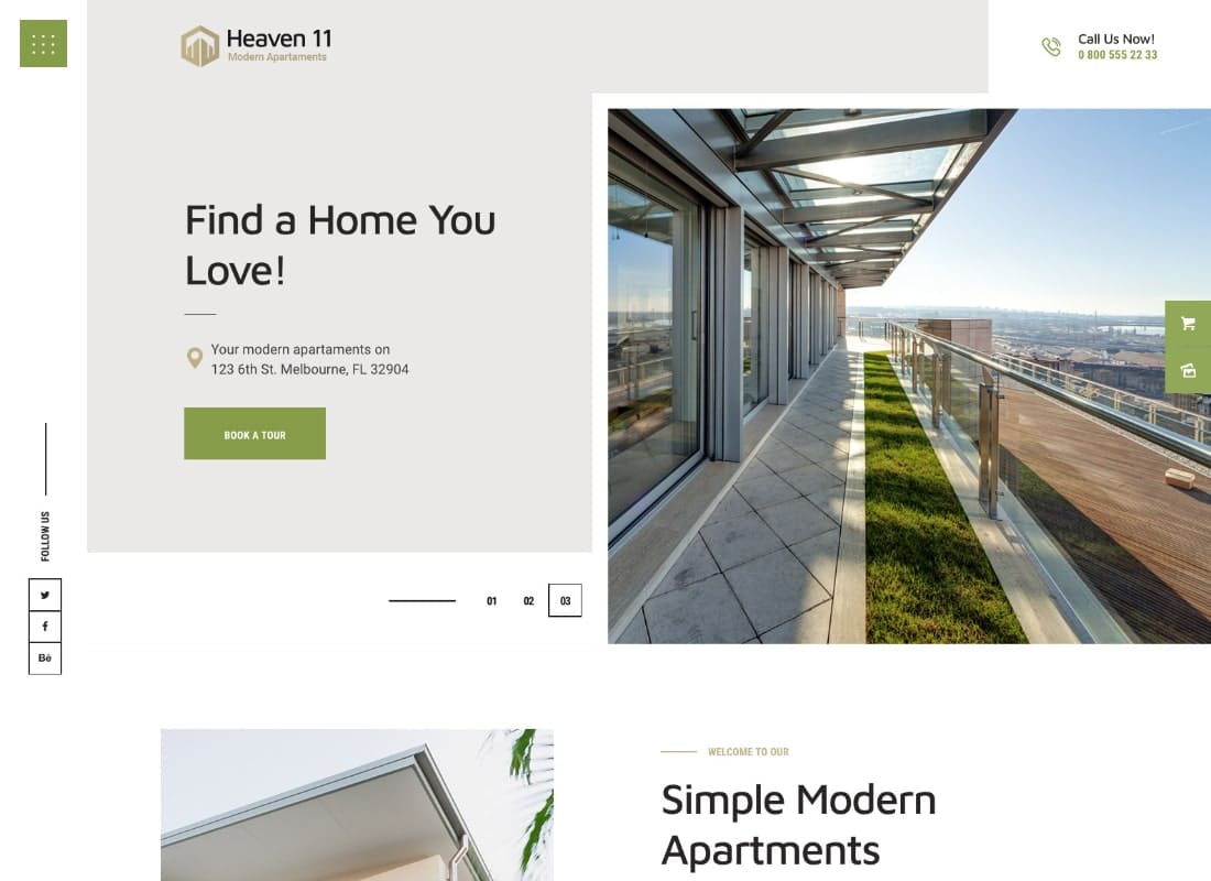 Heaven11 | Property & Apartment Real Estate WordPress Theme Website Template