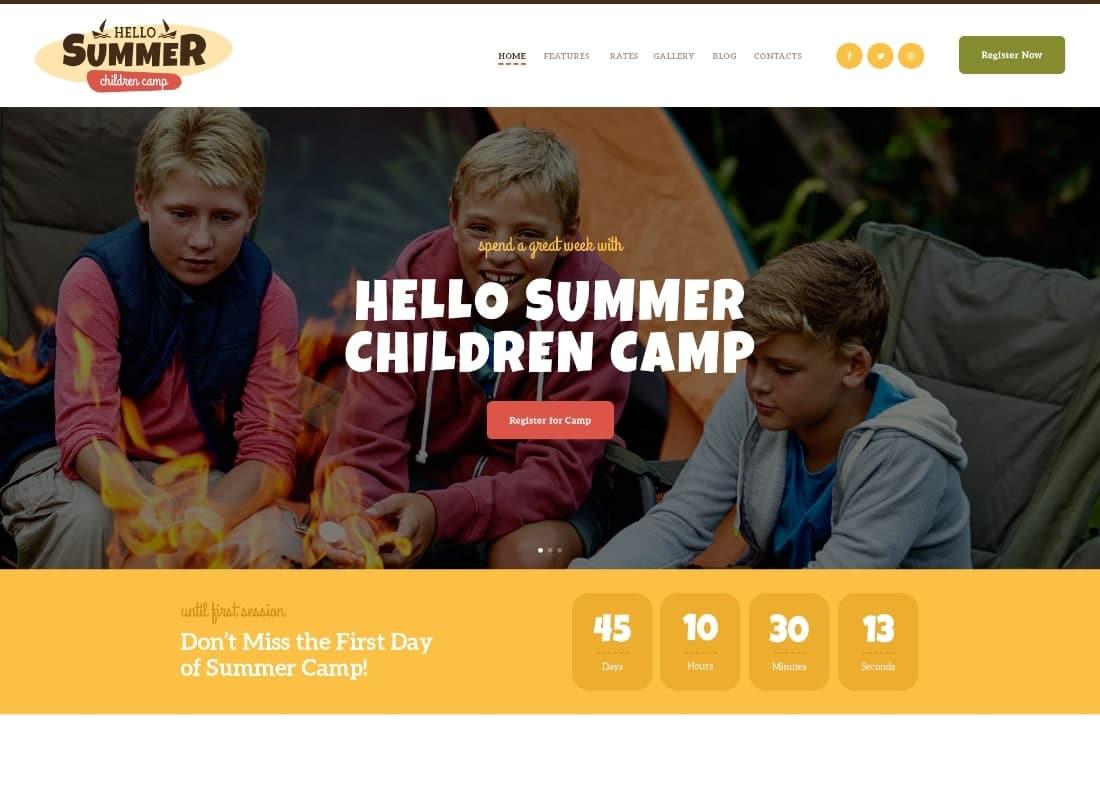 Hello Summer | A Children's Camp WordPress Theme Website Template
