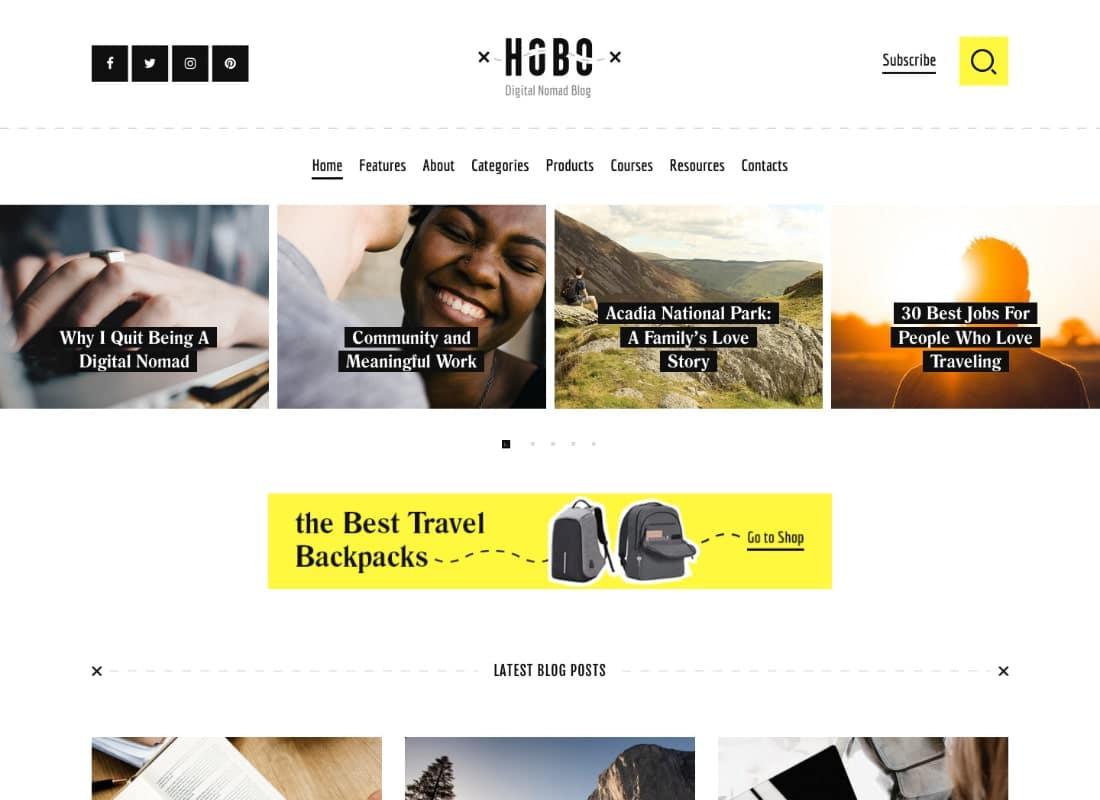 Hobo | Digital Nomad Travel Lifestyle Blog WordPress Theme Website Template