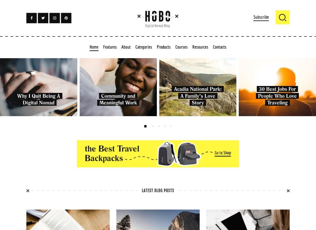 Hobo   Digital Nomad Travel Lifestyle Blog WordPress Theme Website Template