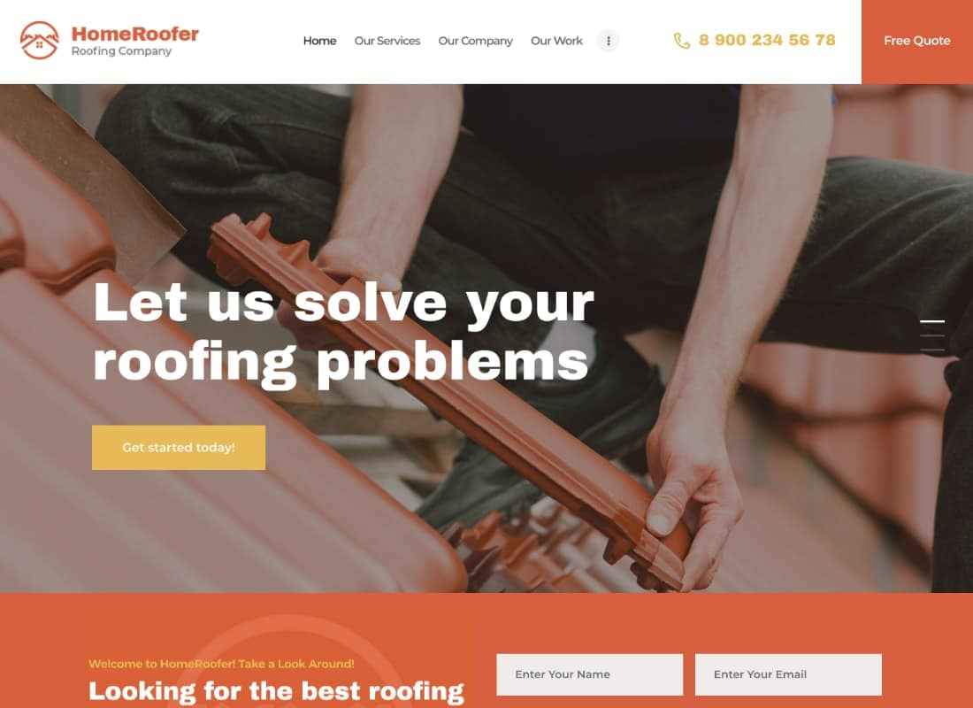 HomeRoofer | Roofing Company Services & Construction WordPress Theme Website Template