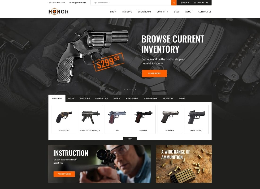 Honor | Shooting Club & Weapon Store WordPress Theme Website Template