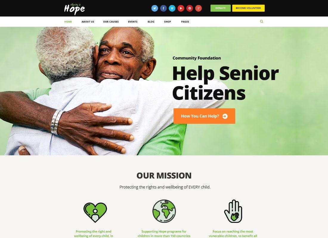 Hope | Non-Profit, Charity & Donations WordPress Theme + RTL Website Template