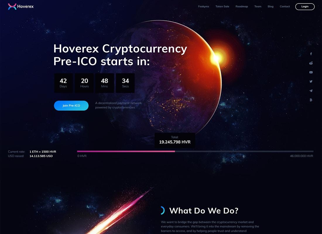 Hoverex | Cryptocurrency & ICO WordPress Theme + Spanish   Website Template