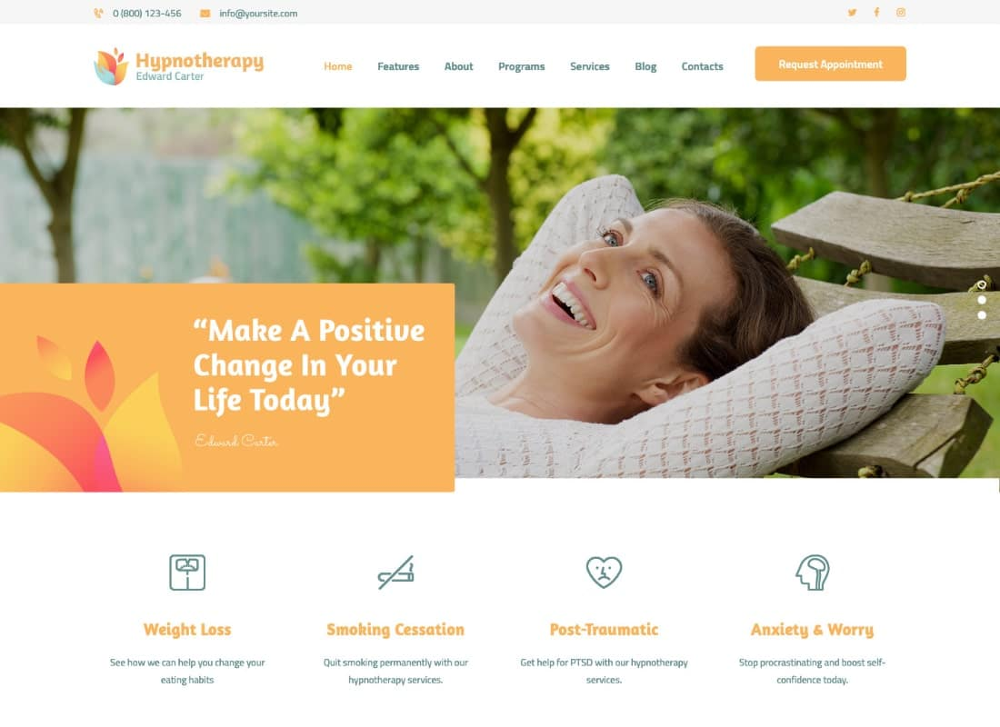 Hypnotherapy and Psychologist Therapy WordPress Theme Website Template
