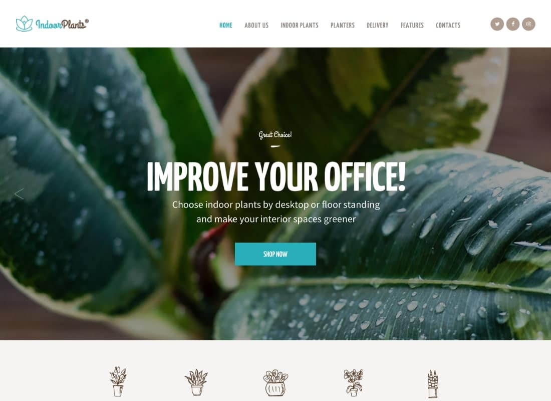 Indoor Plants | Houseplants store & Gardening WordPress Theme Website Template