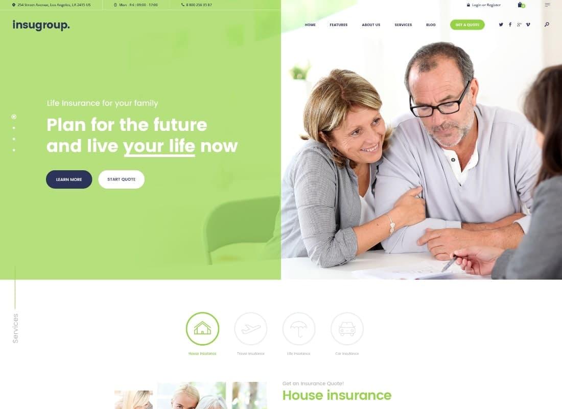Insugroup   A Clean Insurance & Finance WordPress Theme Website Template