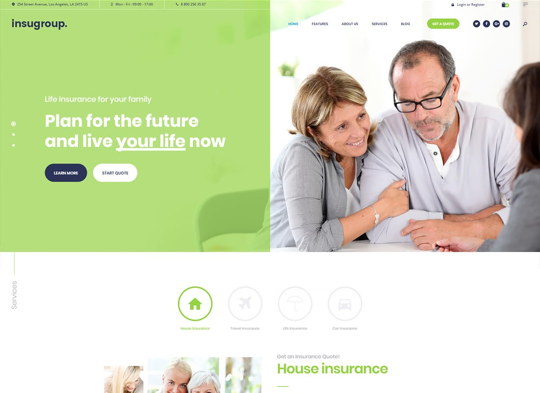 Insugroup | A Clean Insurance & Finance WordPress Theme Website Template