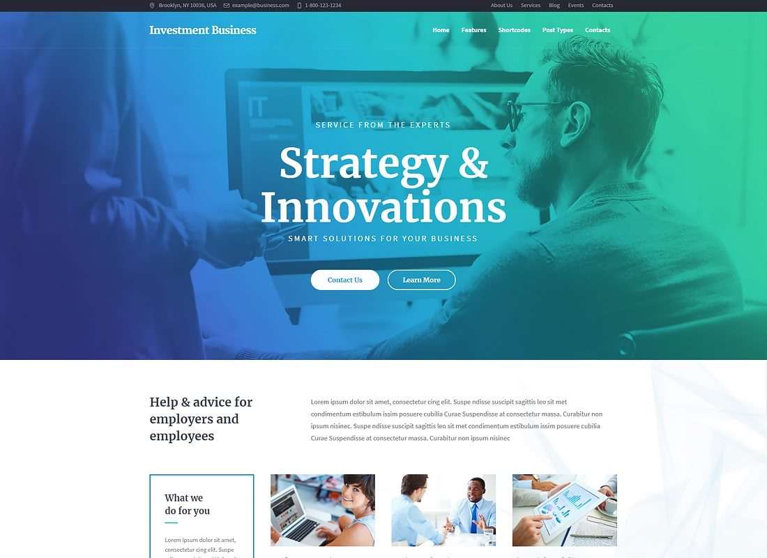 Investment Business - Finance & Investment Consulting WordPress Theme   Website Template